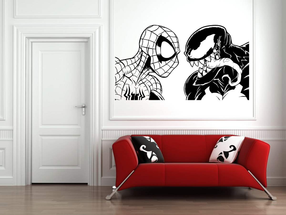Spiderman Vs Venom Wall Art Decal Sticker Wall Tile Art Vinyl