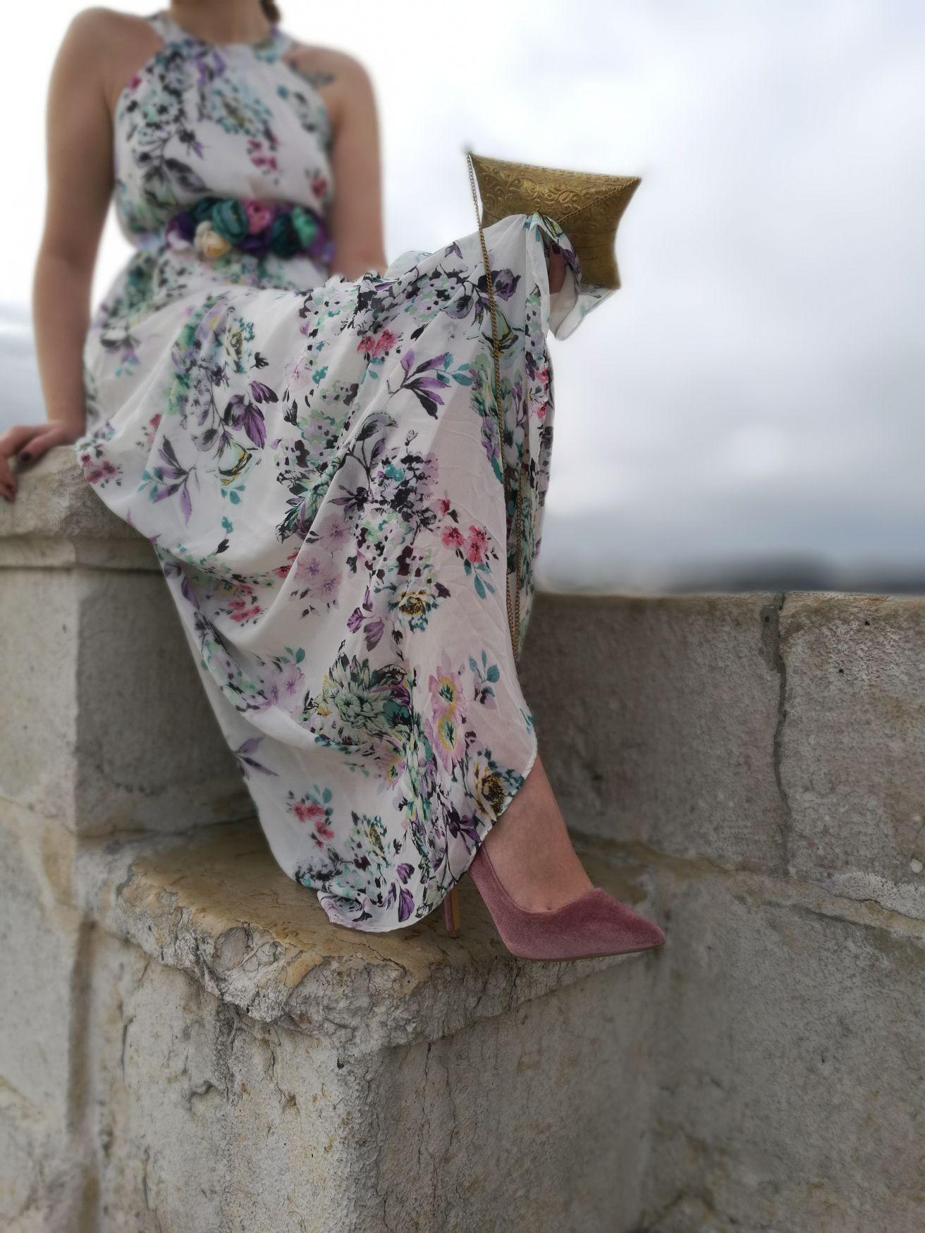 Zapatos vestido largo flores