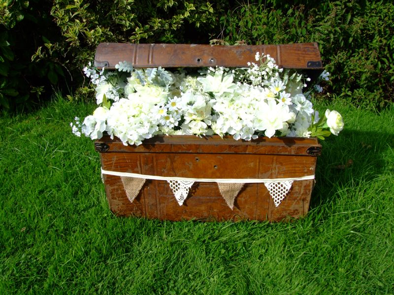 Old Travellers Trunk Filled With Flowers And Hessian Lace Bunting Wedding Prop Hire