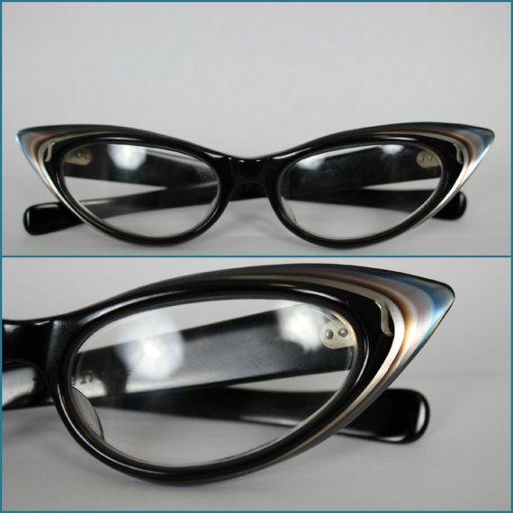 Vintage 50s Cat Eye Reading Glasses Multi Color Variegated Celluloid France Frames