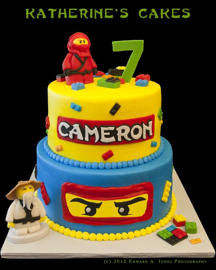 Birthday 145 Ninjago Theme Cake For Cameron Age 7 With All Edible Hand Sculptured Characters And Building Blocks