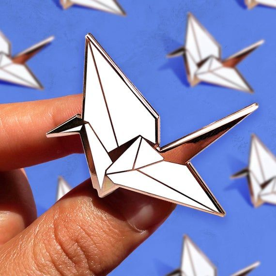 Photo of Origami  Swan Enamel Pin / Paper Birds