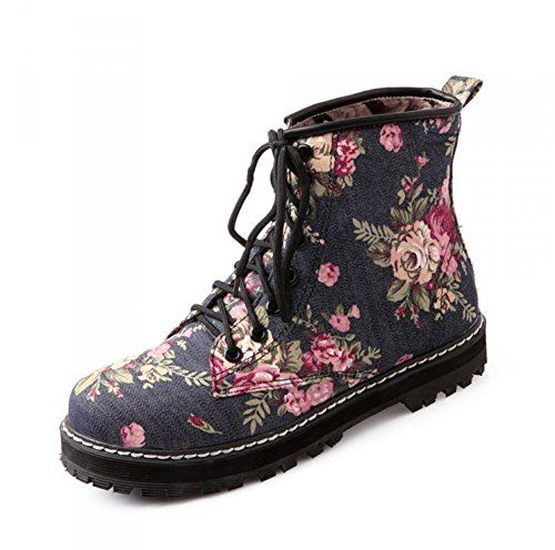 1e54f2a8db8e Aisun Women s Fashion Floral Lace Up High Top Flat Trainers Booties Ankle  Boots Dark Blue 6