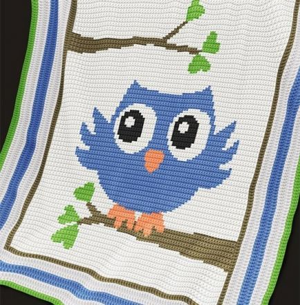 Crochet Pattern | Baby Blanket / Afghan - Blue Owl | Crochet Blanket ...