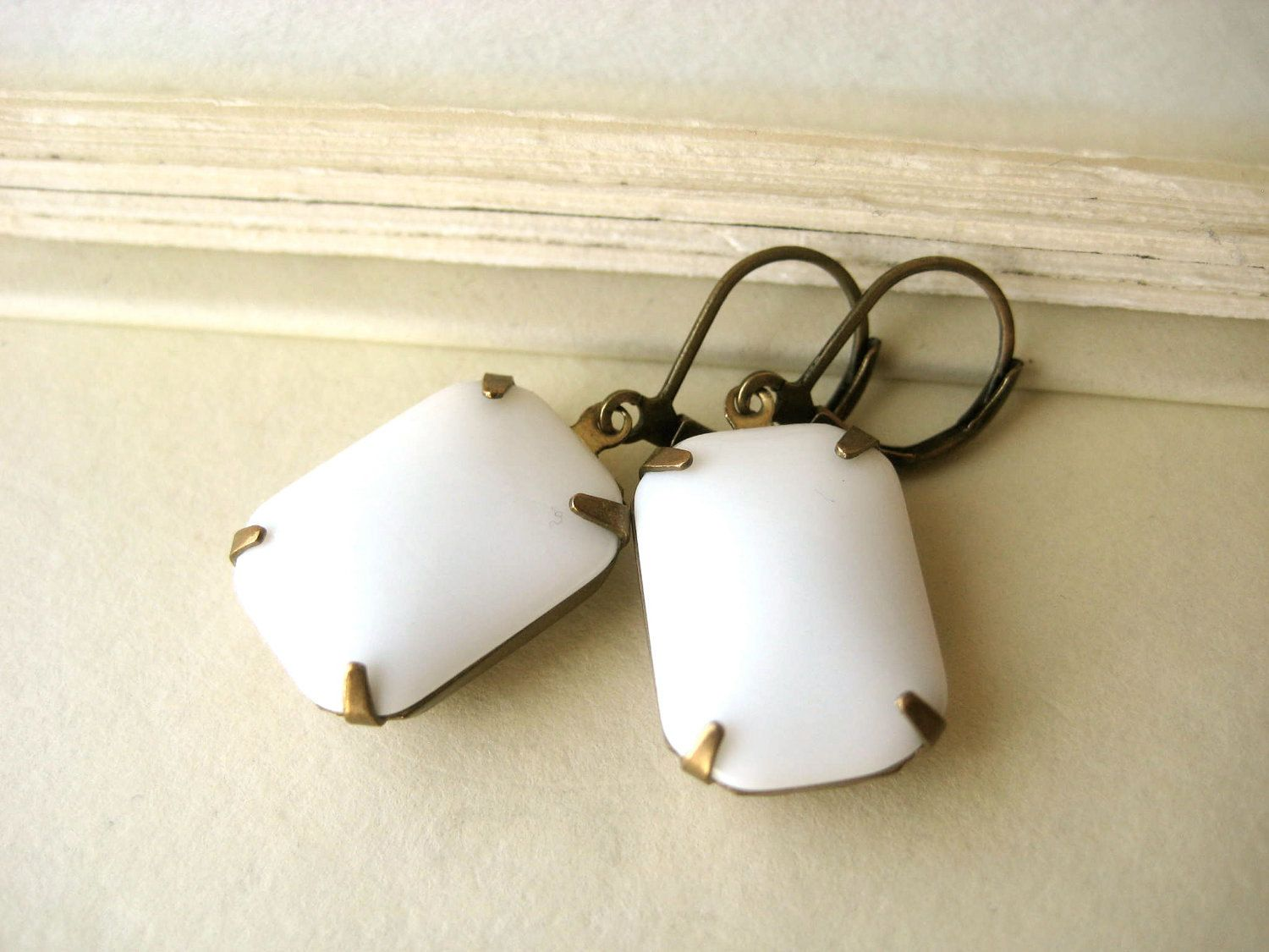 White Estate Style Earrings - bridal, antique brass, opaque, rectangle, emerald, 18x13. $20.00, via Etsy.