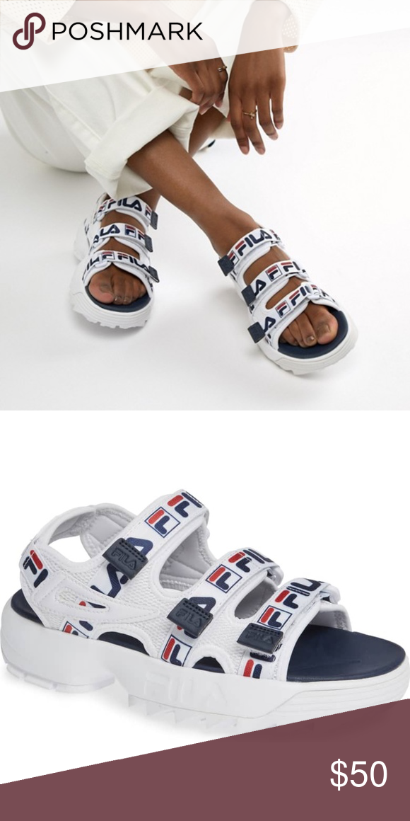 9f3d6dbec5f FILA  Disruptor  Logo Taping Platform Sandals Women s Size 9 True to size.  Whole