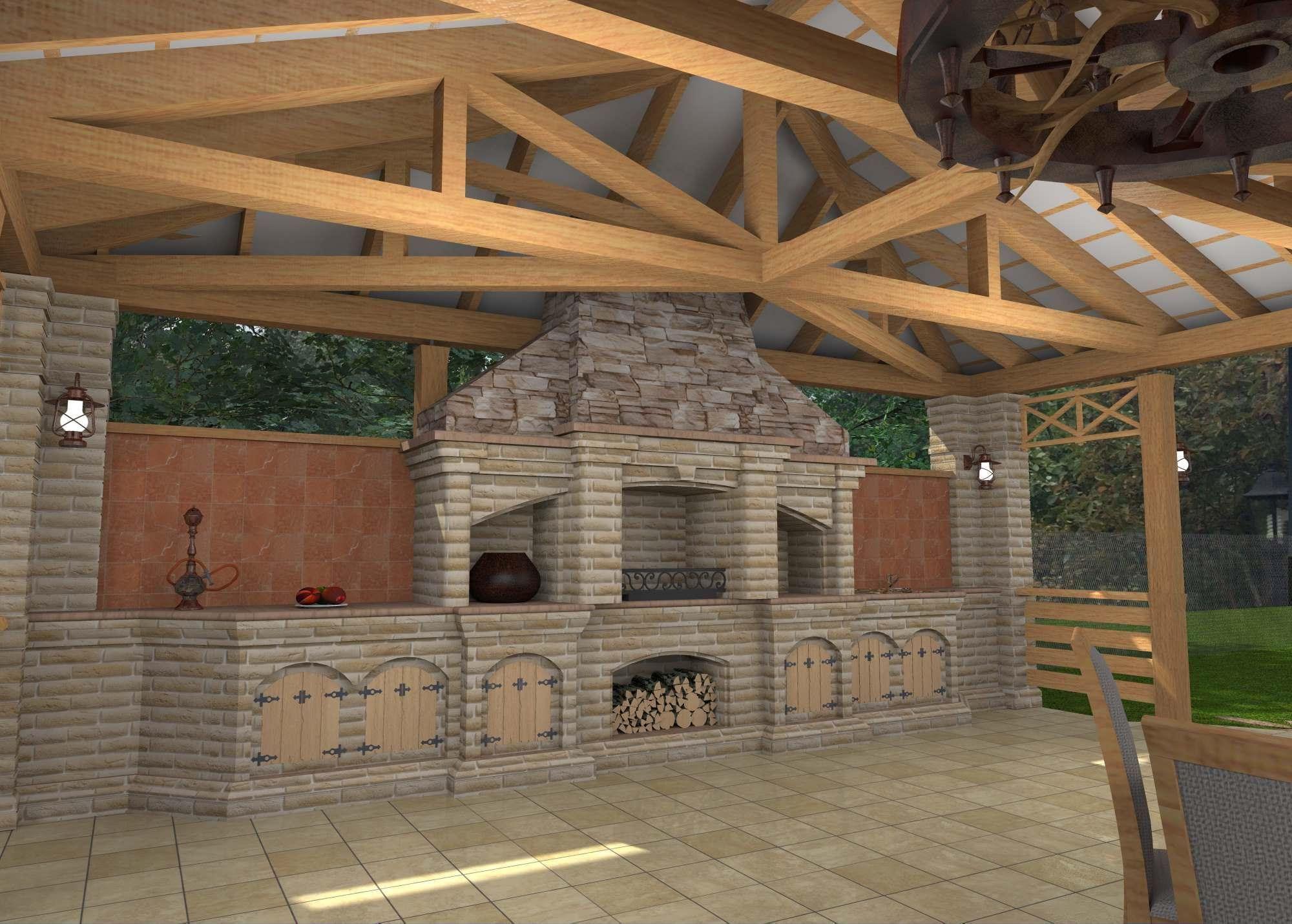 печь на веранде с мангалом
