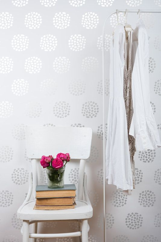 Flowerball Scandinavian Wall Stencil For DIY Project   Wallpaper Look And  Easy Home Decor