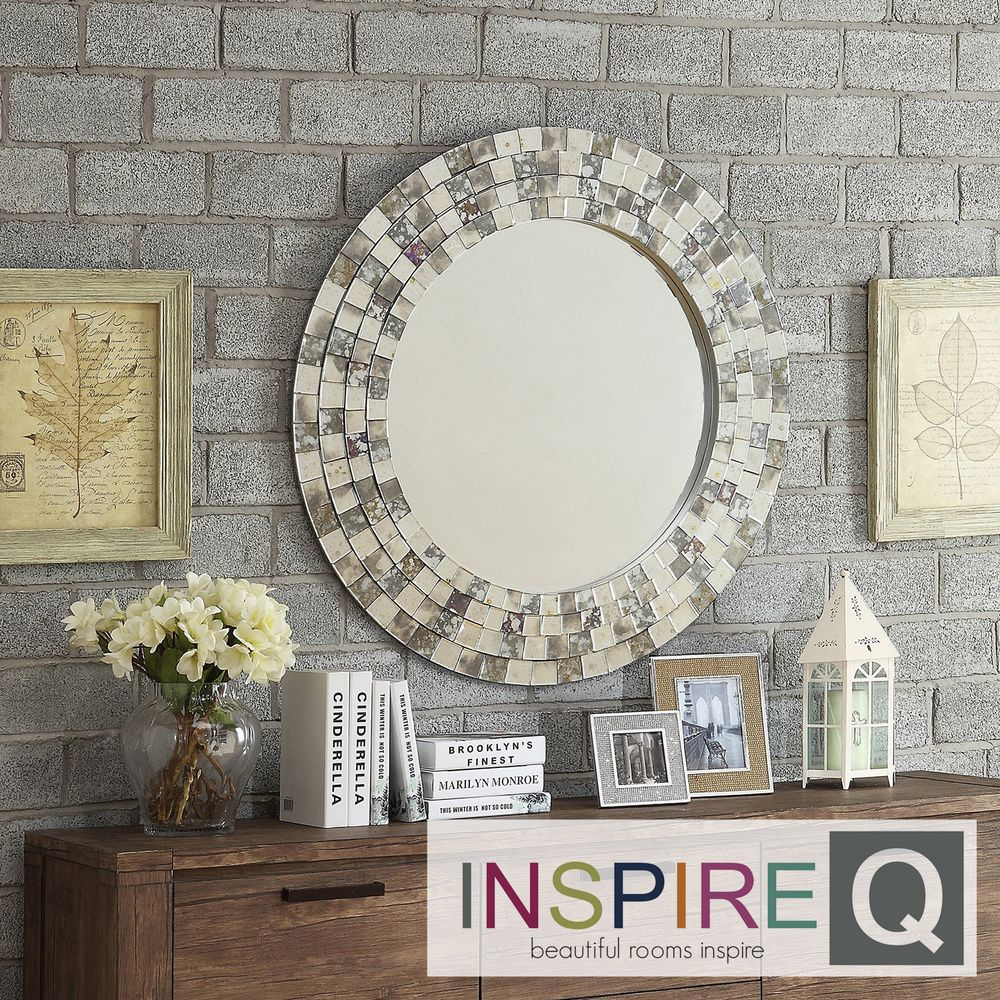 Inspire Q Nihoa Silver Mosaic Round Accent Wall Mirror | Overstock.com  Shopping - Great