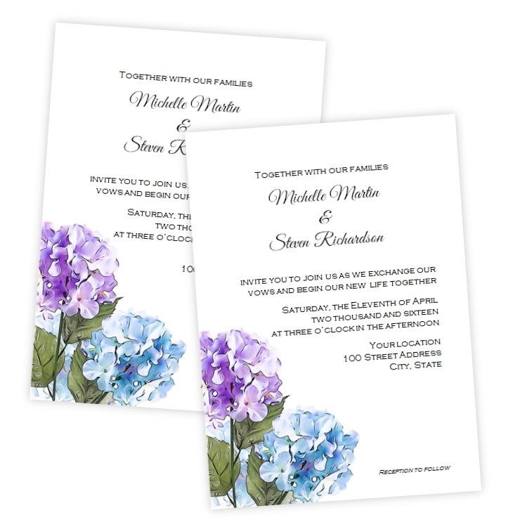 Purple & Blue Hydrangea Wedding Invitation - DIY Printable Invite ...