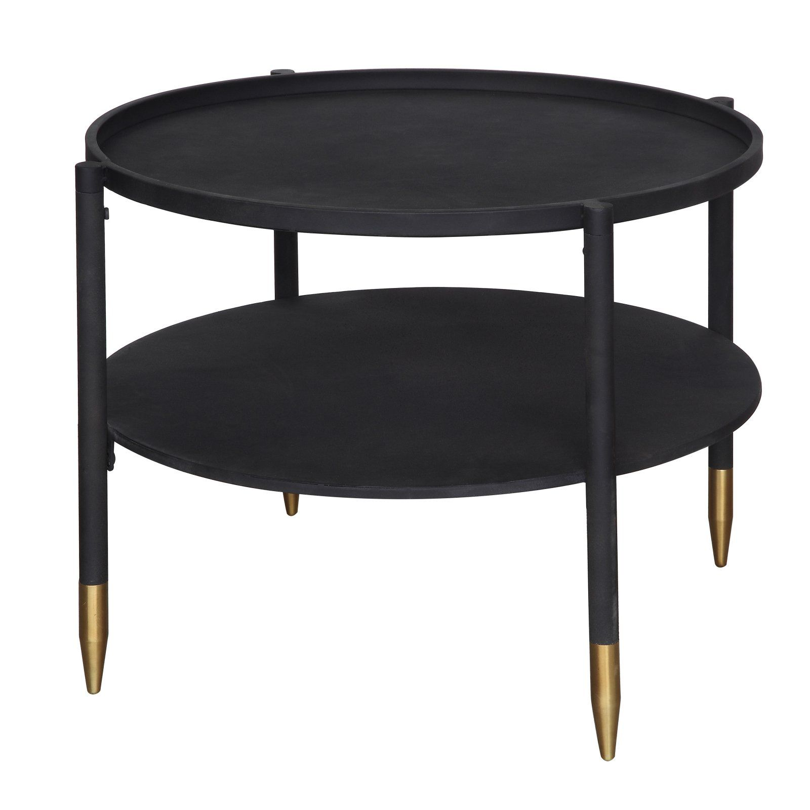 Sprinkle Bloom Round 2 Tier Black Metal Coffee Table With Gold Feet Walmart Com Coffee Table Metal Coffee Table Round Coffee Table [ 1600 x 1600 Pixel ]