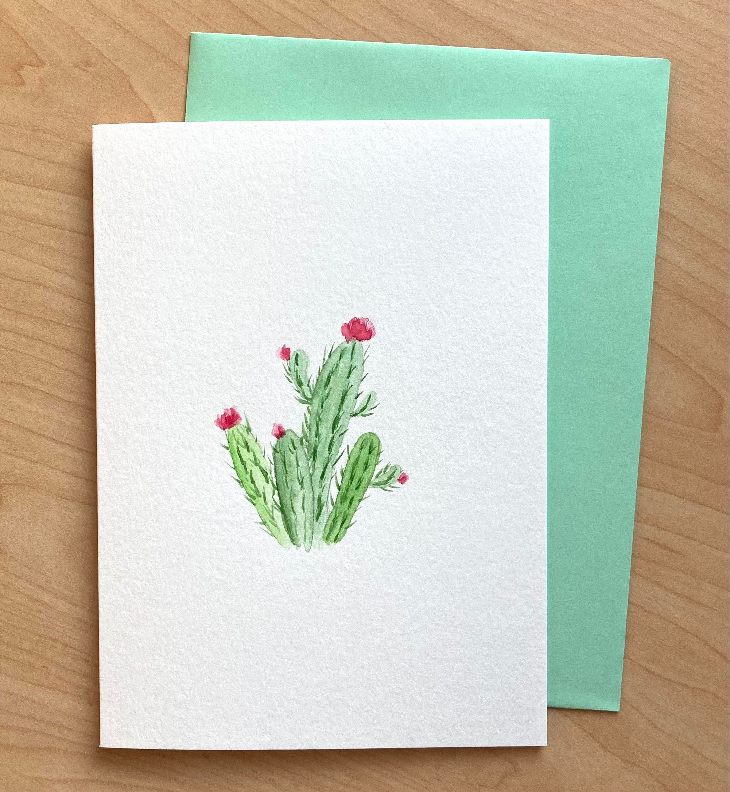 Hand Painted Card Not Print Cactus Blank Card Original Etsy In 2021 Hand Painted Card Paint Cards Watercolor Cards