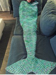Fashionable Multicolor Knitted Mermaid Tail Design Blanket For Adult (GREEN) | Sammydress.com Mobile