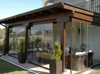 decoracin de terrazas con cristal de vidrio templado exteriores pinterest pergolas summer kitchen and glass houses