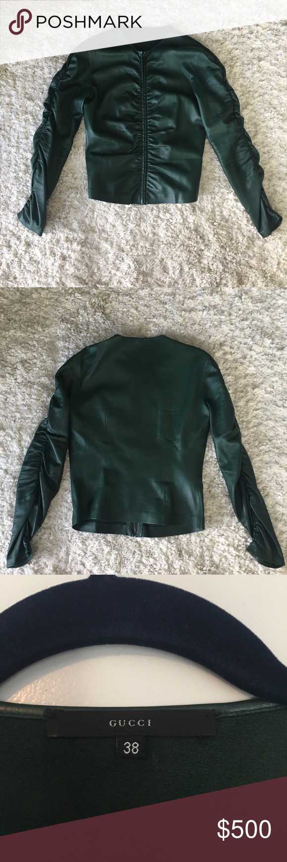 99bbf8d1b Gucci Hunter Green Leather Ruched Zip Up Jacket Fitted leather jacket with  ruched detail throughout. Long sleeves with front zip closure, unlined.
