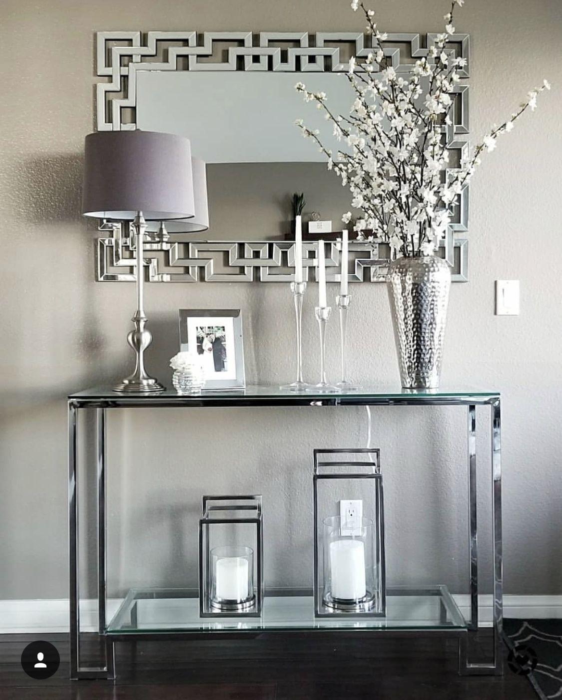 Grey Silver White Decor Silver Living Room Home Decor Foyer Decorating #silver #and #white #living #room #decor