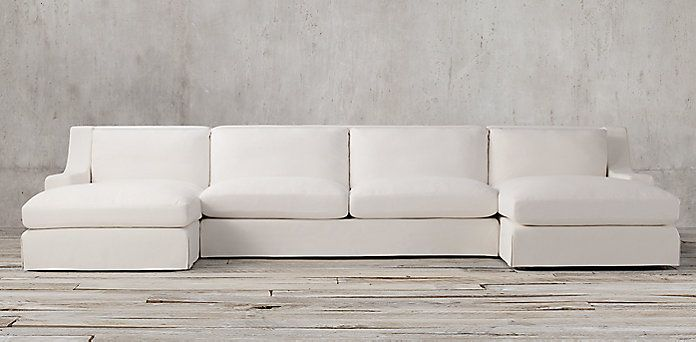 Parisian Slipcovered Classic Slope Arm Sectionals Rh
