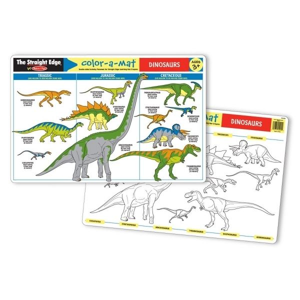 """Melissa & Doug The Straight Edge Write-A-Mat DINOSAURS Placemat. Double Sided Activity Placemat for Write On-Wipe Off Crayons. Measures 17.25"""" X 11.25""""."""