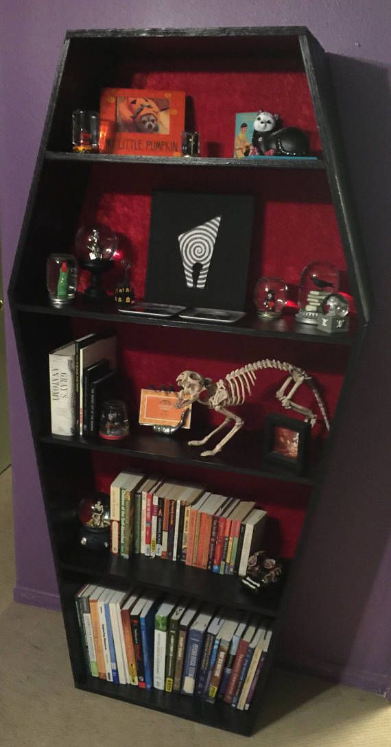 This Listing Is For Your Coffin Bookshelf With Red Fabric And Black Paint Dimensions Are About 5ft 8in Tall X 2ft