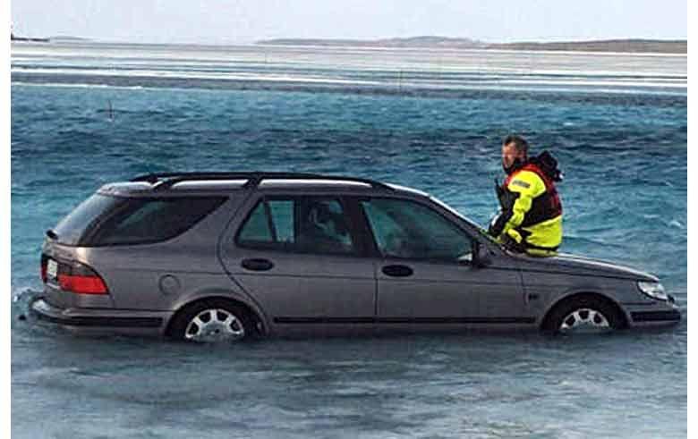 Saab 9-5 breaks through ice road https://goo.gl/XZrsOf