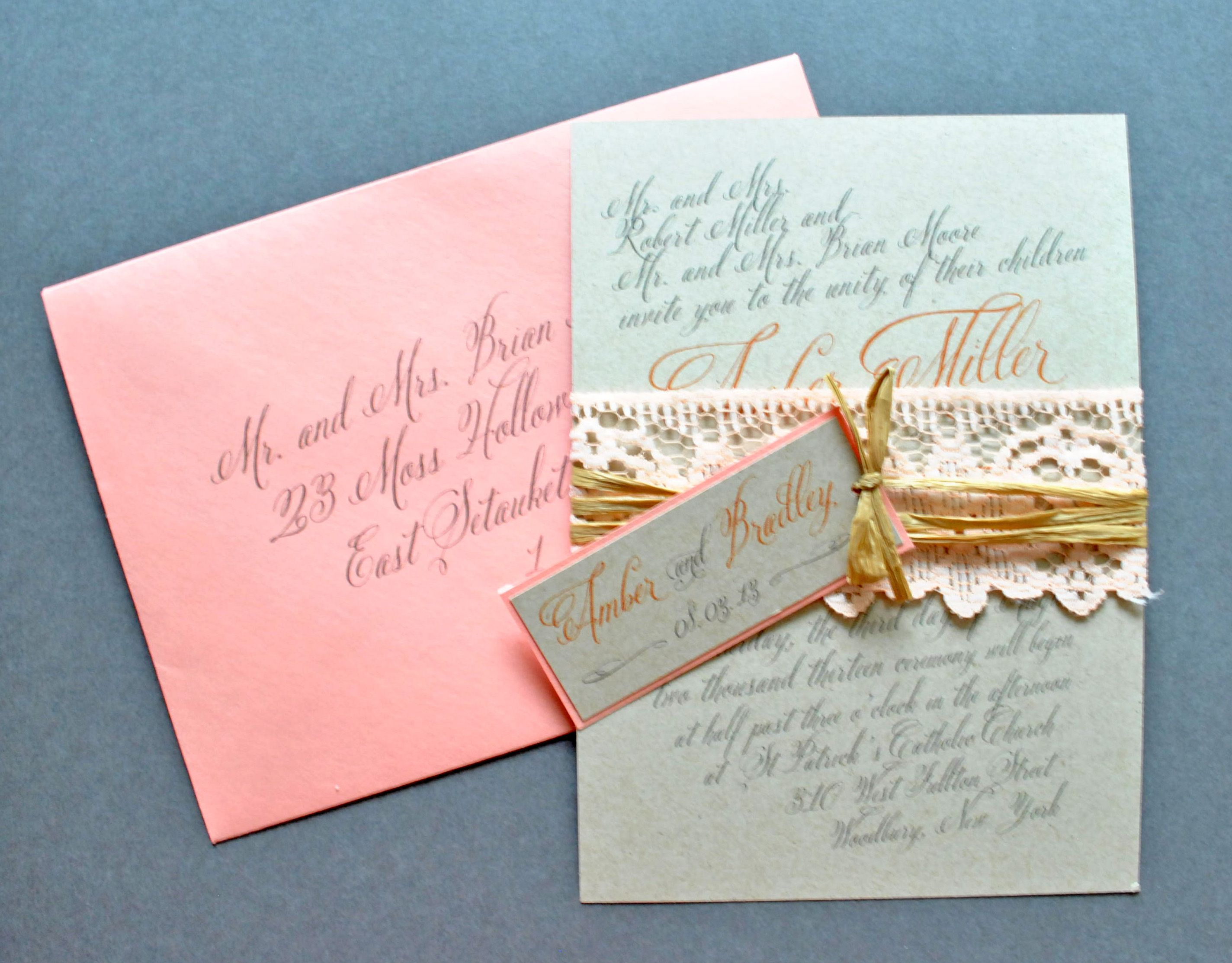 Rustic Peach Wedding Invitations Lace Wedding Invitations