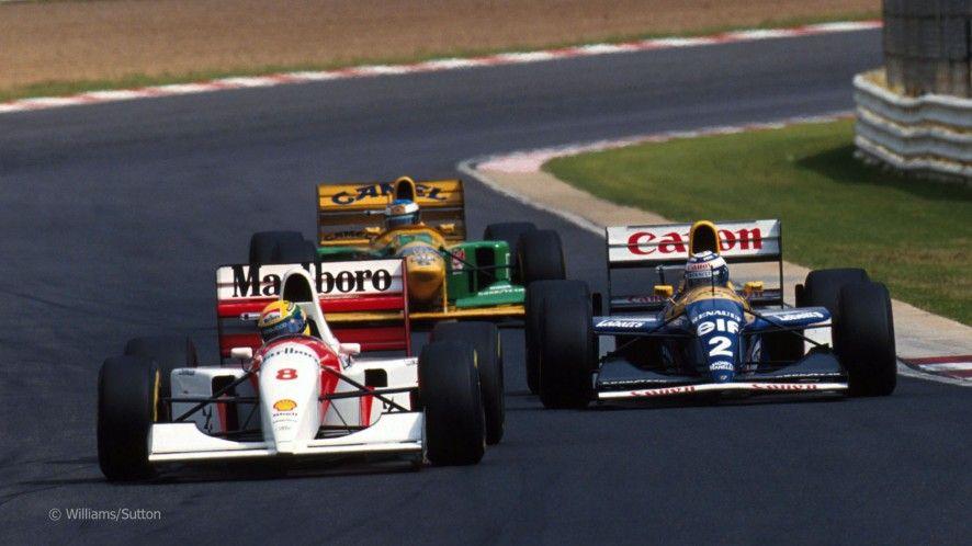 Ayrton Senna leads Alain Prost and Michael Schumacher ...