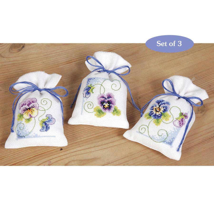 Violets Sachet Set - Cross Stitch, Needlepoint, Stitchery, and Embroidery Kits, Projects, and Needlecraft Tools | Stitchery