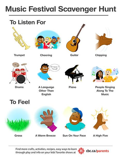 It's music festival season! Print one of these scavenger hunts to take along on family music fest adventures.