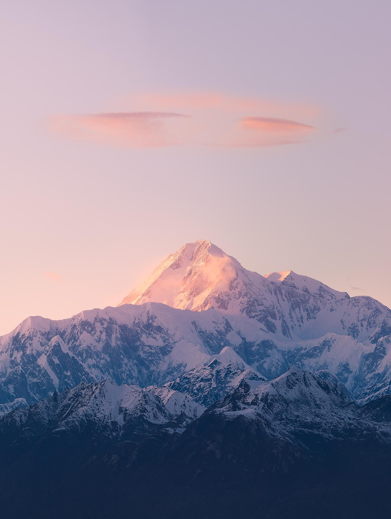 Denali Pink Sunset Wisps Over The Great One In Denali