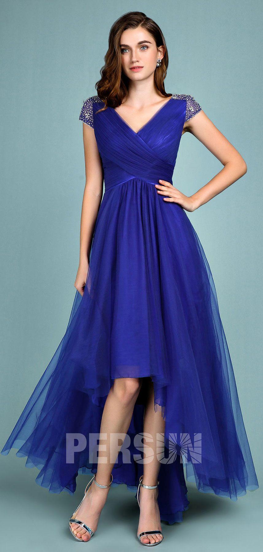 Robe de soirée bleu roi courte devant longue