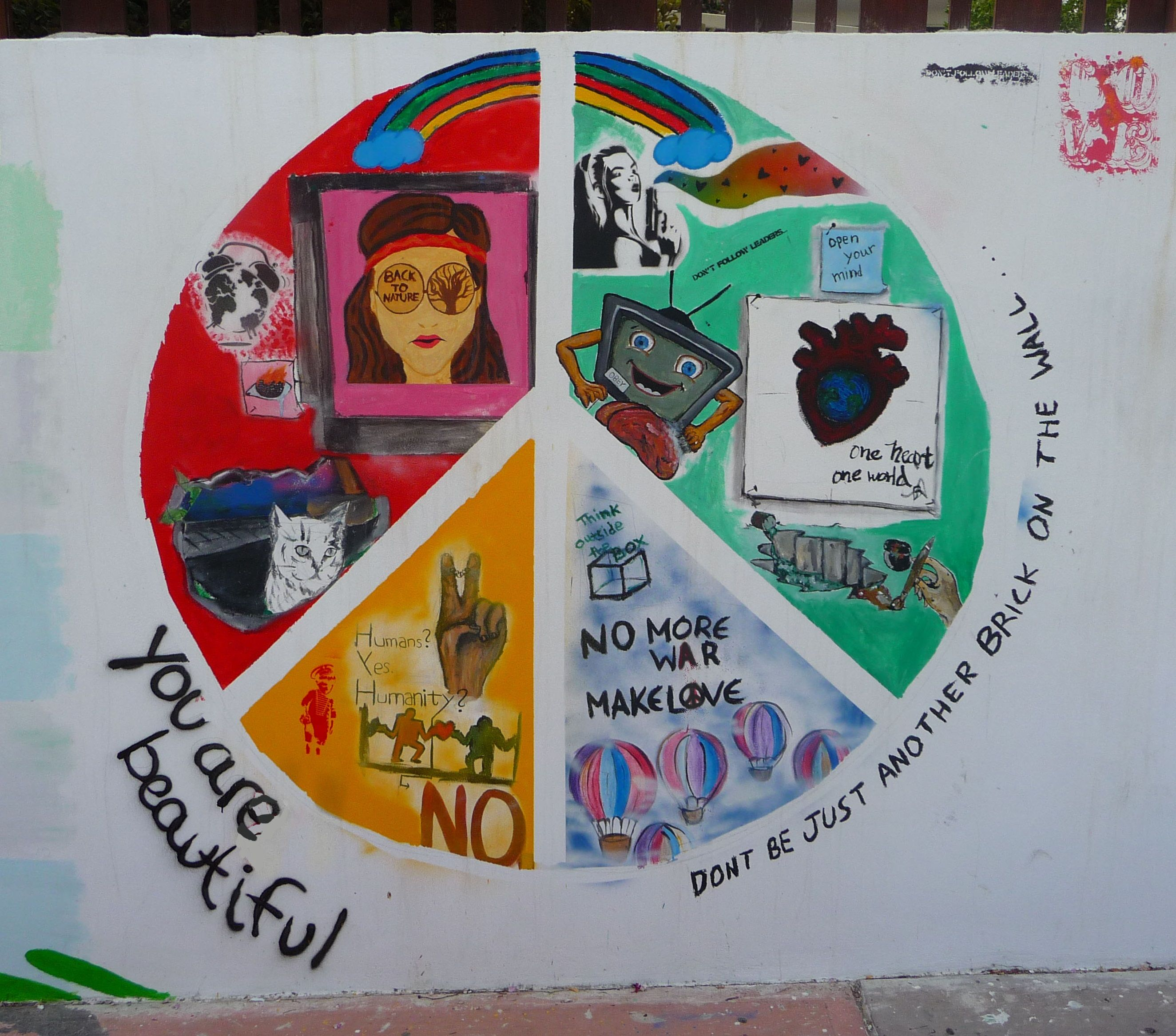 ☮ ☮ ☮ I Made this wonderful picture of a beautiful and impressing wall painting @ on a wall next to: starbucks cyprus, Poseidonos Ave 1&2, Paphos! (Artist Unknown :( )  peace love care share  = happiness