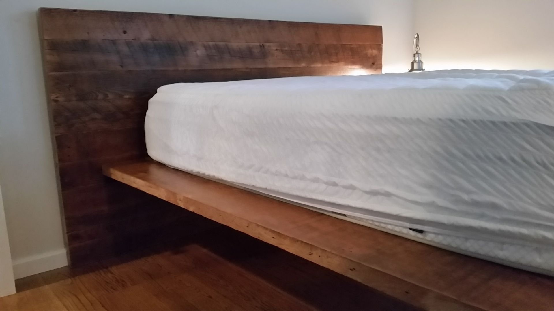 Reclaimed Wood Platform Bed With BuiltIn Side Table Bed