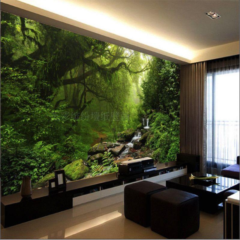 Goedkope Custom natuurlijke zonlicht groene eye bos landschap behang ...