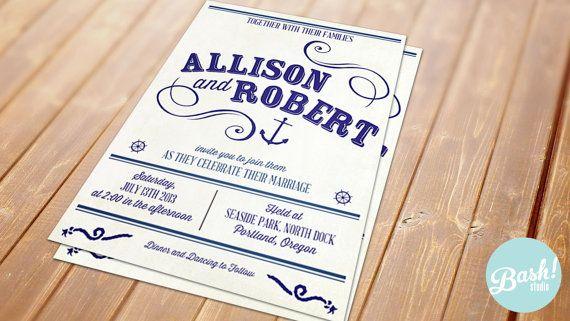 Nautical Wedding Invitation by BashStudio on Etsy, $16.00
