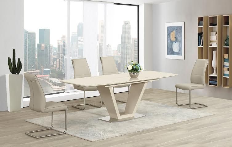 Italian Designed Lorgato Dining Table Features A Cream High Gloss Finish With A Bonded Cream Glass Top And Toughened Glass Base Mesas E Cadeiras Cadeiras Mesa
