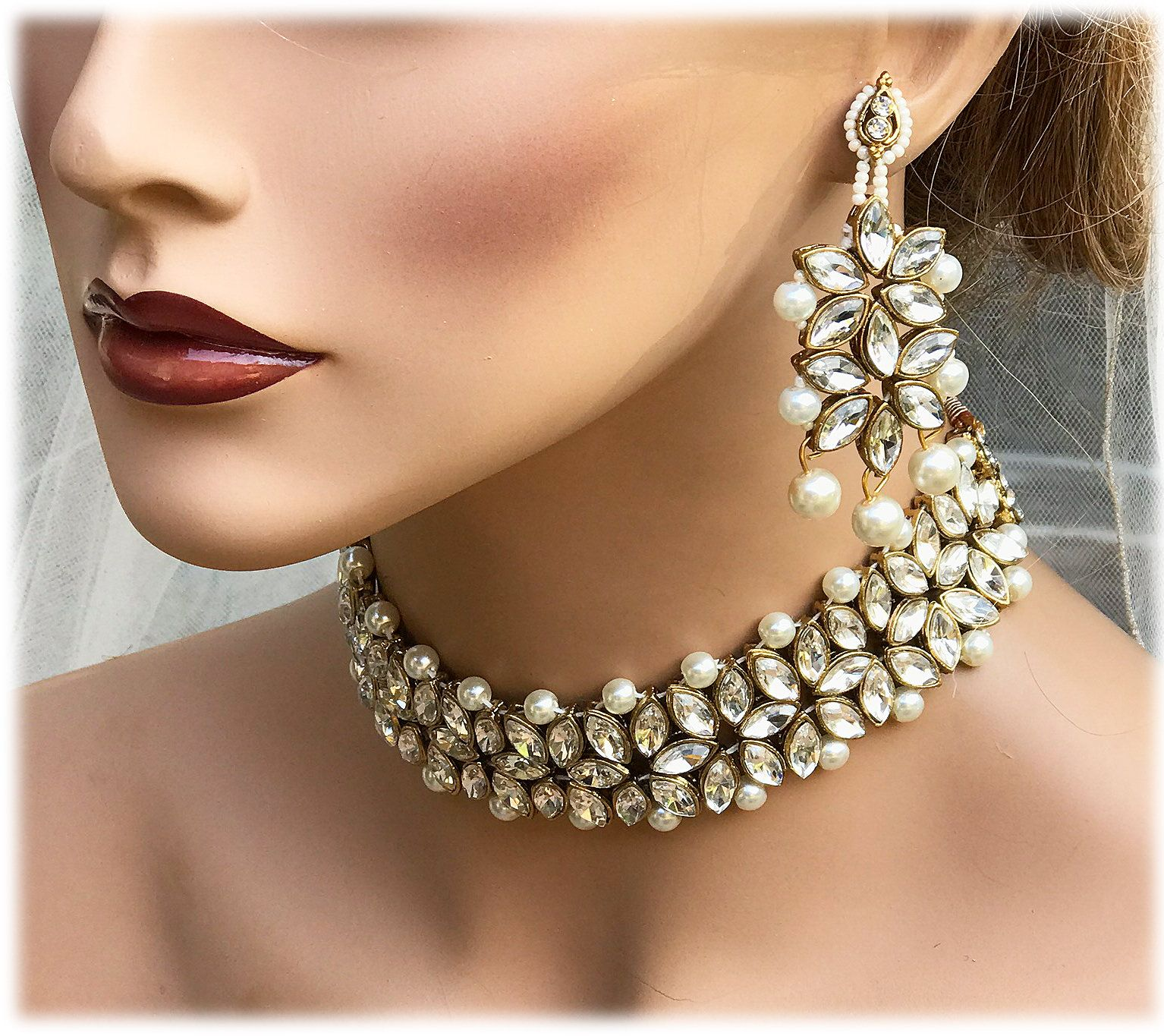 Crystal Statement Necklace Bollywood Jewelry Set Kundan Jewelry Set Bridal Necklace and Earring Set Indian Bridal Jewelry Set