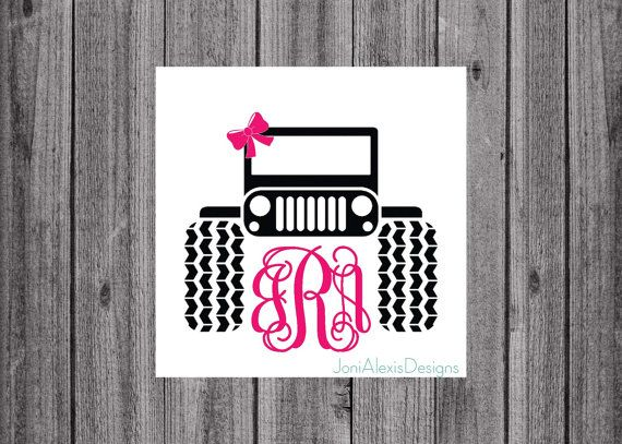 Jeep Monogram Decal This One Is For All The Jeep Girls Adorable - Jeep vinyls for yeti cups