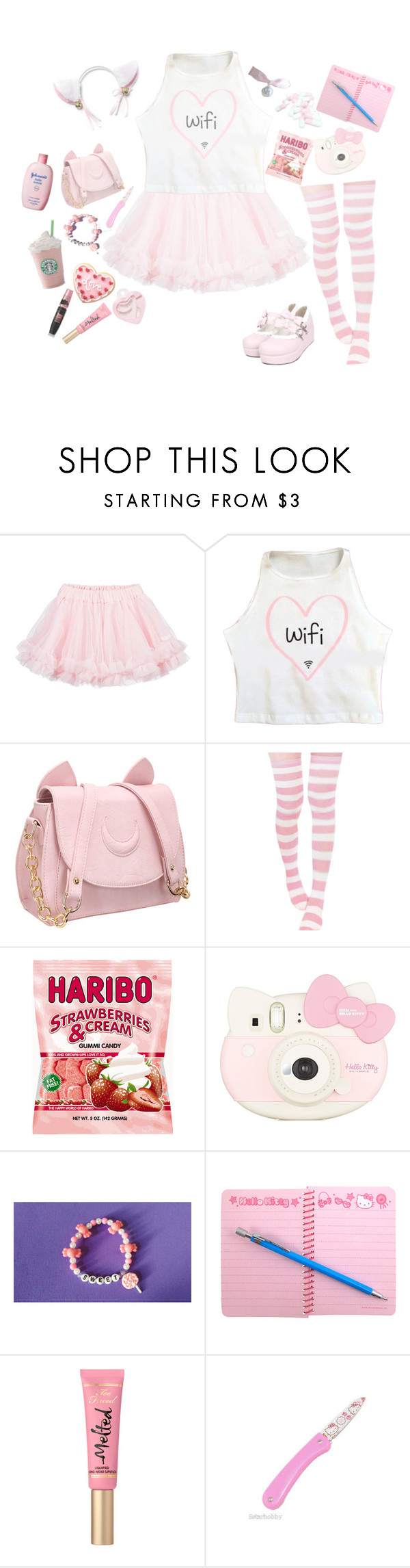 """""""🎀 ♡~Little Kitty~♡ 🎀"""" by super-kawaii-zoe ❤ liked on Polyvore featuring LILI GAUFRETTE, Hello Kitty and Etude House"""