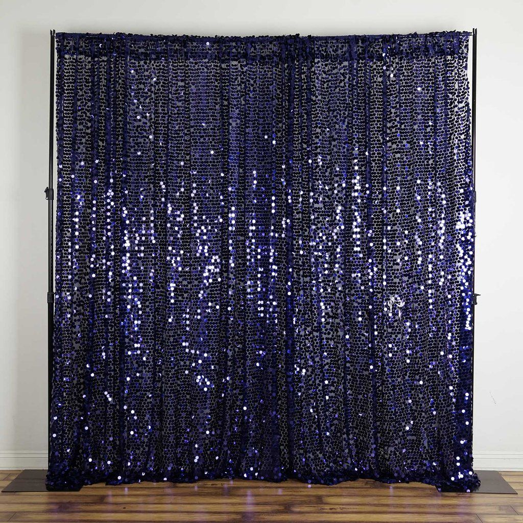 20ft X 10ft Navy Blue Big Payette Sequin Backdrop Curtain Sequin