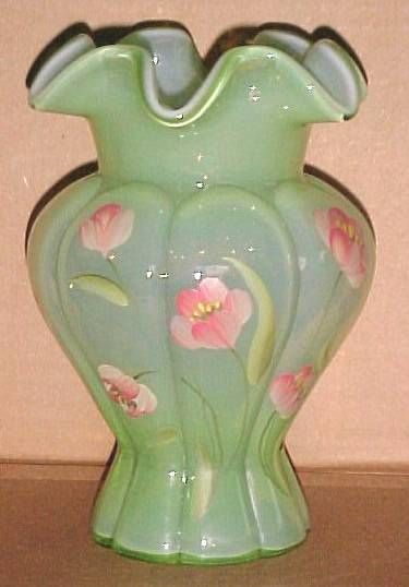 Fenton Green Glass Vase With Hand Painted Flowers Signed S Davis