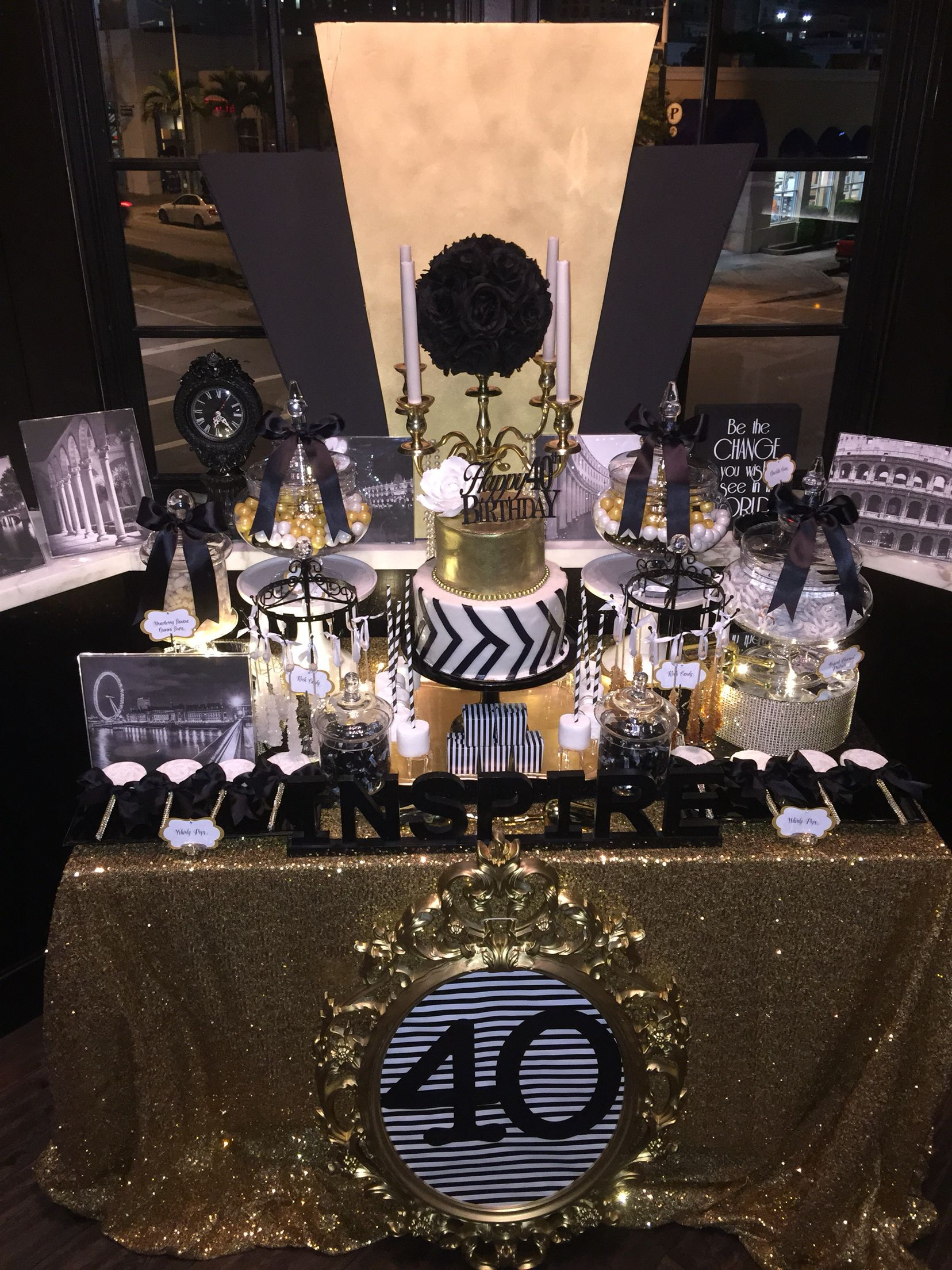 Candy buffet ideas for sweet sixteen - Black White And Gold Candy Buffet With A Glamorous 2 Tier Fondant Cake Brushed