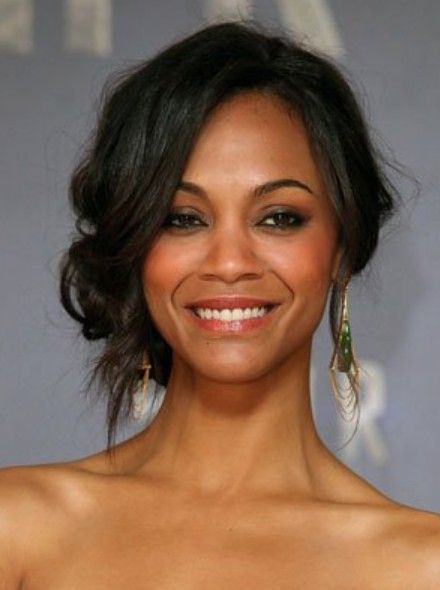 Zoe Saldana Loose Updo Short Hair Updo Short Hair Styles Hair Styles