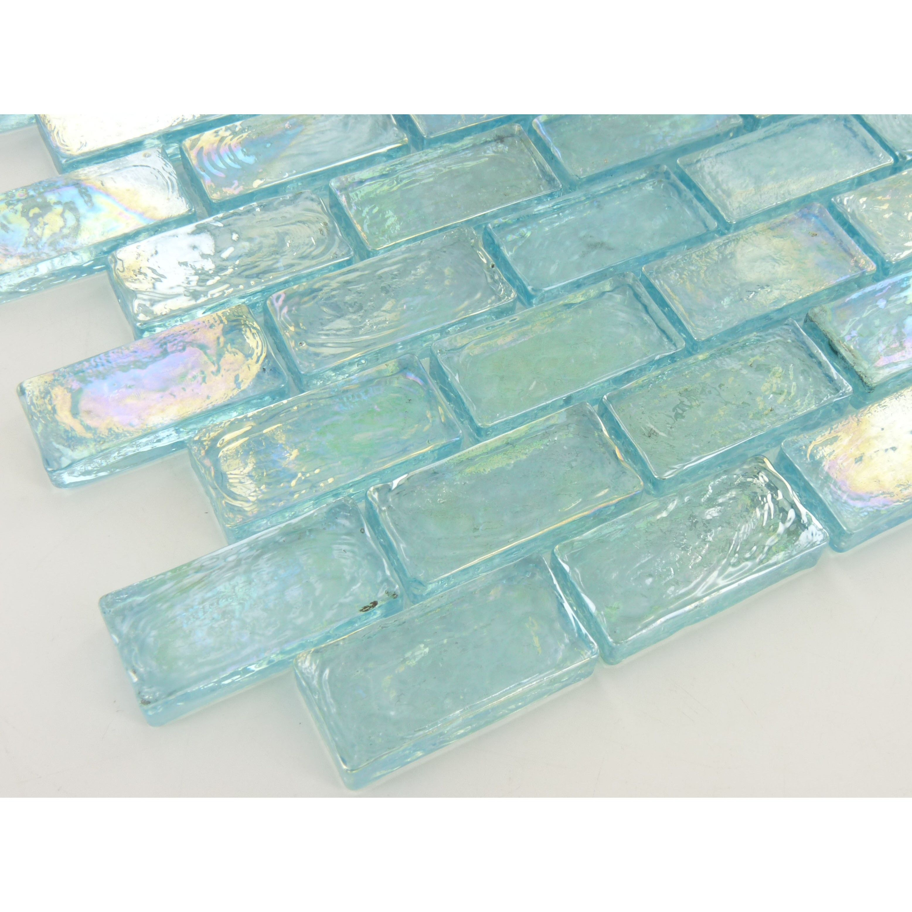 Ibr21 Aqua Illusion Bricks 1 1 2 X 3 4 Glass Tile Oasis Outlet Center Iridescent Tile Glass Brick Glass Tile