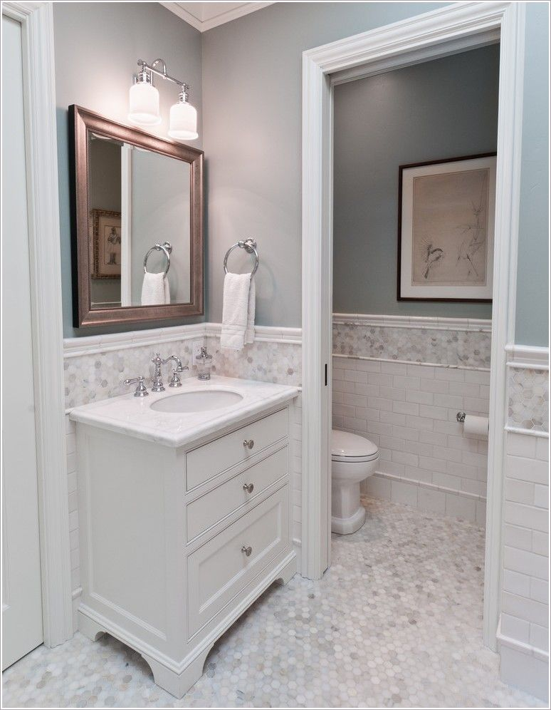 Awesome Chair Rail Vanity Part - 5: Chair Rail, Mosaic And Subway Tile With Baseboard.