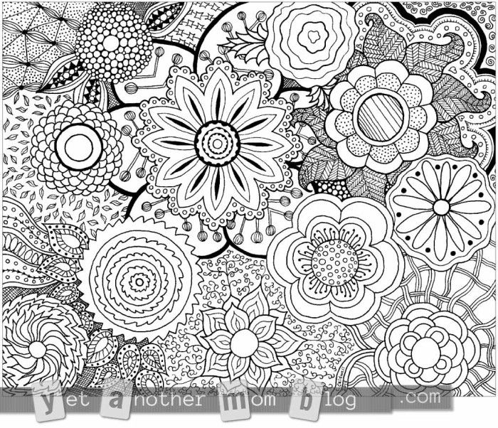 More Coloring Pages For Adults Zentangle Flowers Free Coloring