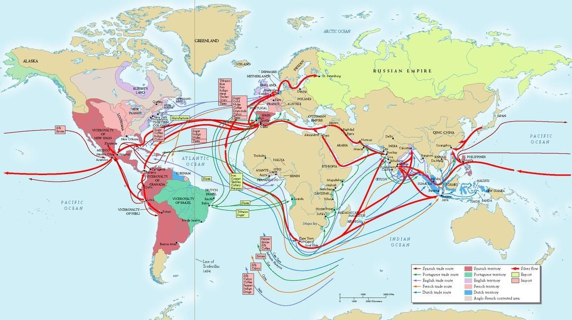This Map Shows The European Trade Routes Of The 16th Century