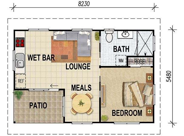1 bedroom granny flat floor plans gurus floor for Granny cottage plans