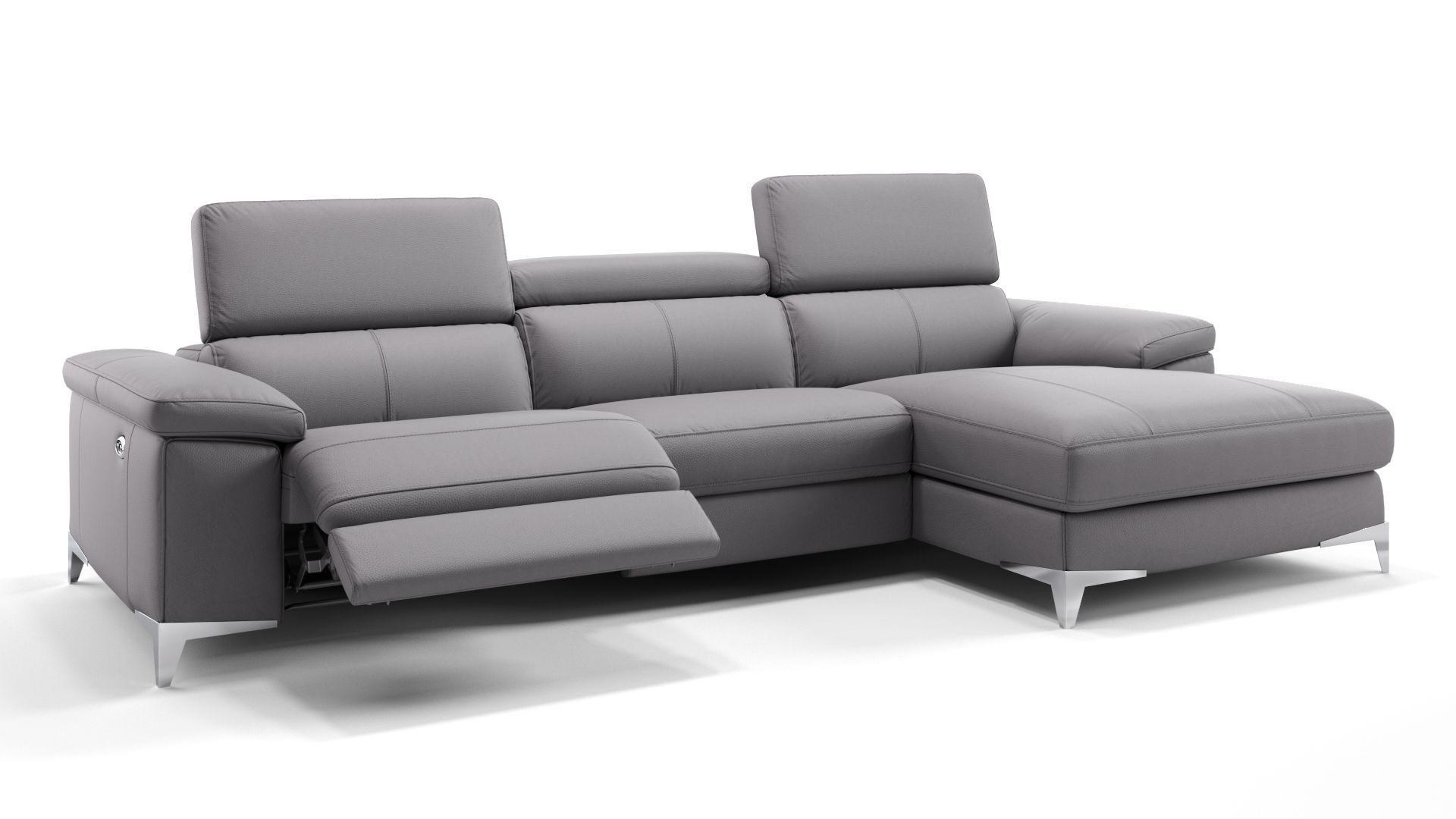 Genial Ecksofa Leder Grau Sofa Mit Relaxfunktion Sofa Couch