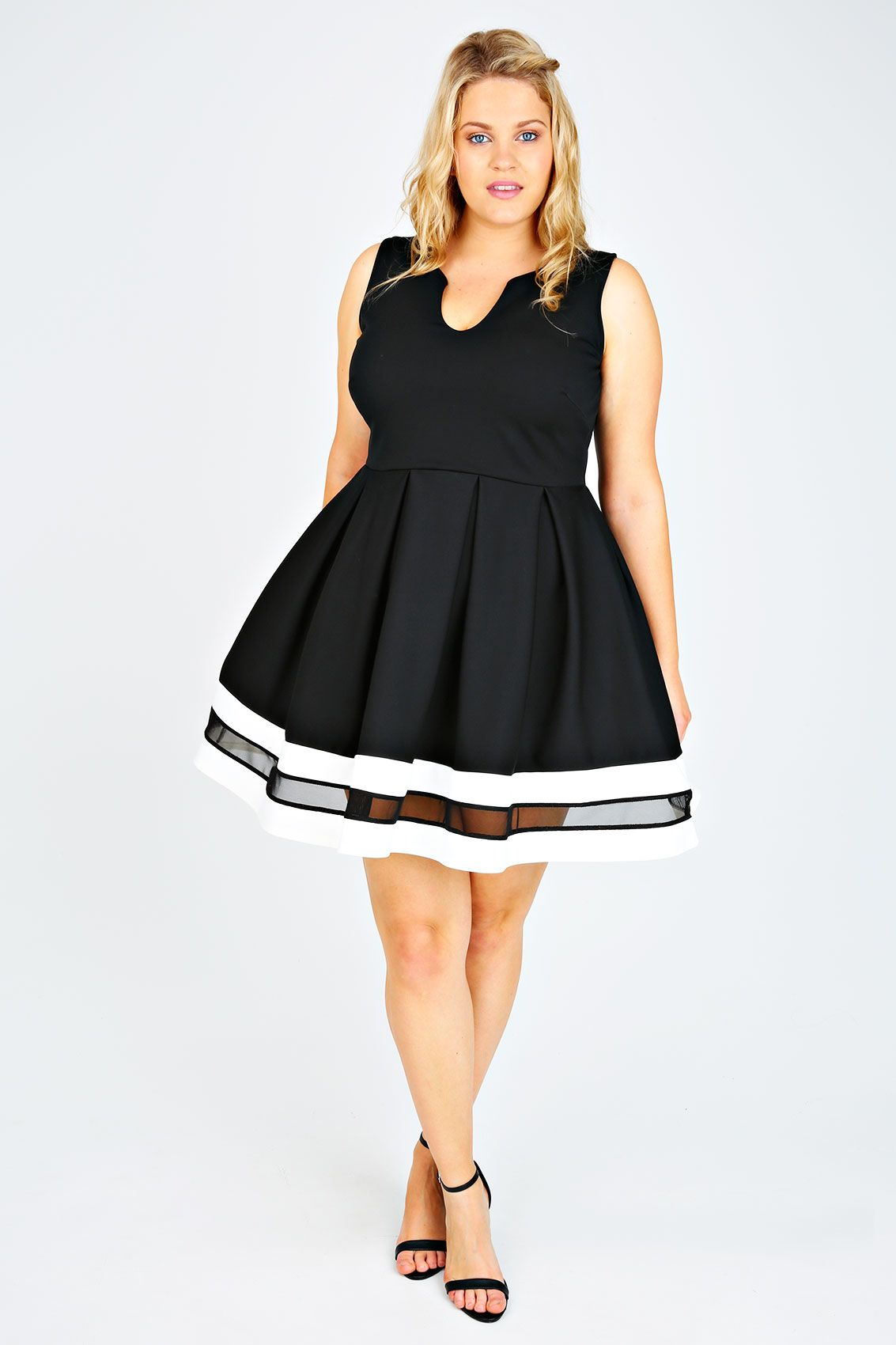 Black, White & Mesh Block Skater Dress plus size 14,16,18,20,22,24 ...
