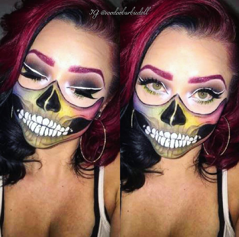 Skull Makeup, Skull Mask, Rainbow Makeup, Rainbow Skull